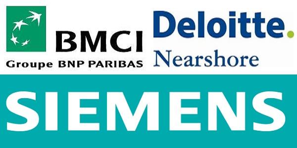 Recrutement (5) postes chez BMCI , SIEMENS et Deloitte