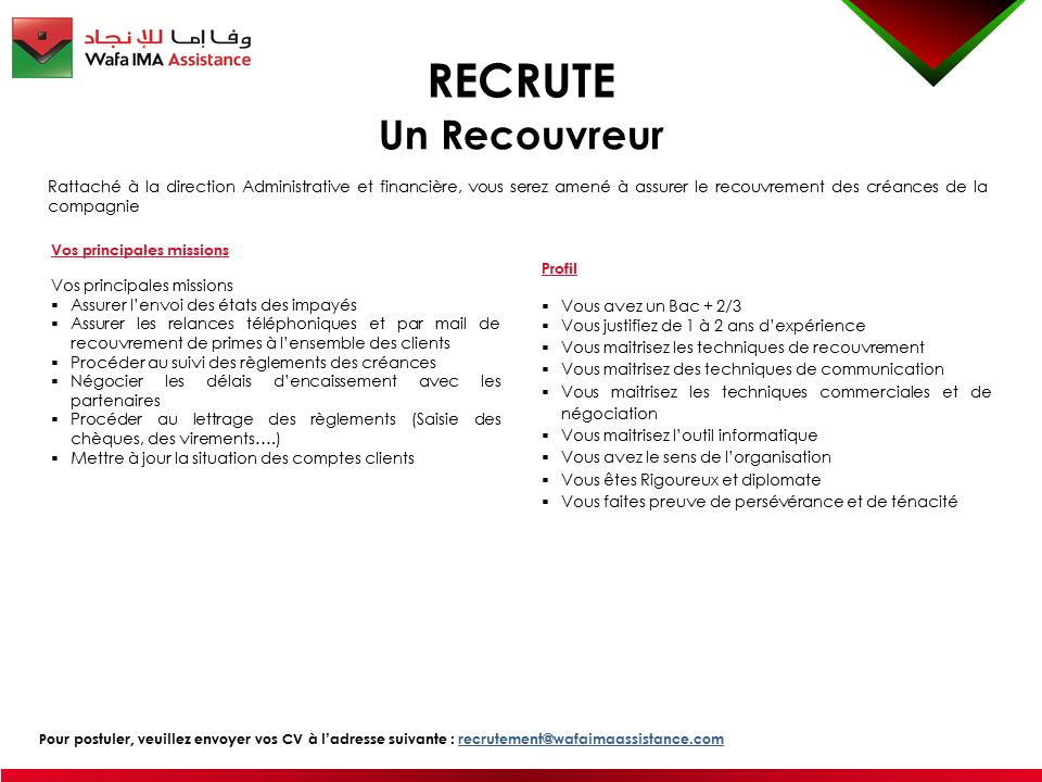 recrutement  3  postes chez wafa ima assistance  u2013  u062a u0648 u0638 u064a u0641  3