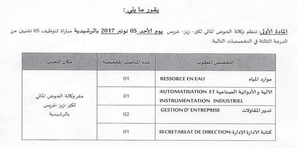 Recrutement (8) postes à l'Agence du Bassin Hydraulique du Guir-Ziz-Rhéris Errachidia – توظيف (8) منصب