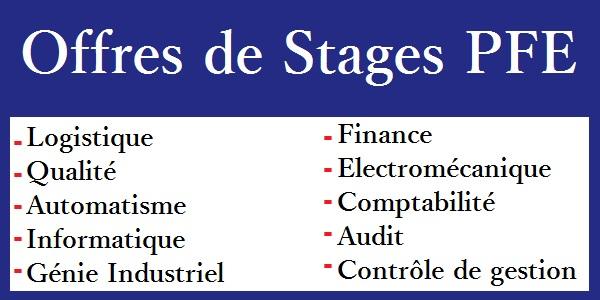 offres de stages pfe en logistique  qualit u00e9  automatisme  informatique  g u00e9nie industriel     etc