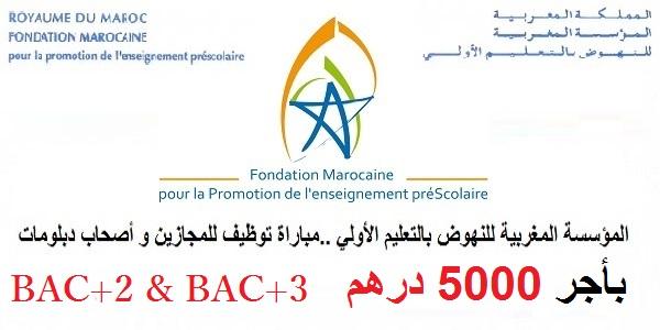 (100 منصب) ، BAC+2 & BAC+3 ، المؤسسة المغربية للنهوض بالتعليم الأولي ..مباراة توظيف للمجازين و أصحاب دبلومات