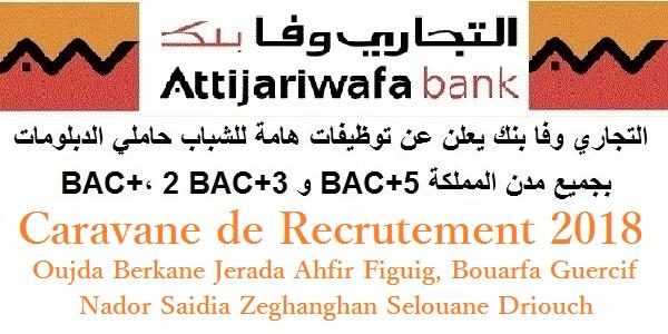 Caravane de recrutement 2018 : Attijariwafa Bank (Oujda, Berkane, Jerada, Figuig, Guercif, Nador, …Etc)