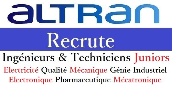 Recrutement des Ingénieurs & Techniciens Juniors chez Altran (Qualité – Electricité – Mécanique – Industriels) – تعلن عن حملة توظيف في عدة تخصصات