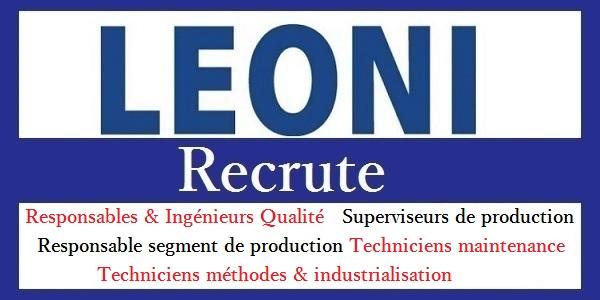 Campagne de recrutement chez LEONI Bouskoura (Ingénieurs & Techniciens – Industriels – Qualité – Electricité – Méthodes – Production) – تعلن عن حملة توظيف في عدة تخصصات