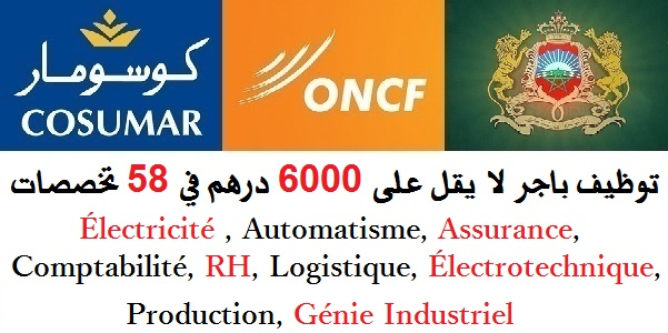 توظيف باجر لا يقل على 6000 درهم في 58 تخصصات : Électricité , Automatisme, Assurance, Comptabilité, RH, Finance, Mécanique, IT, BTP, Génie Industriel