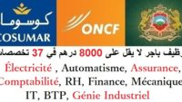 توظيف باجر لا يقل على 8000 درهم في 37 تخصصات : Électricité، Automatisme، Assurance، Comptabilité، RH، Finance، Mécanique، IT، BTP، Génie Industriel