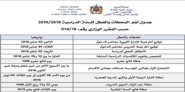 جدول أهم المحطات والعطل للسنة الدراسية 2018/2019