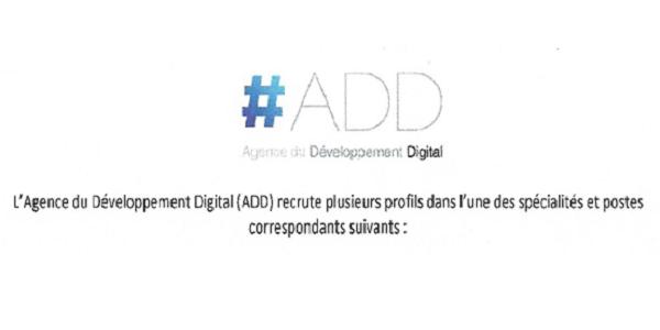 Recrutement (25) Ingénieurs, Cadres & Techniciens à L'Agence du Développement Digital – مباريات توظيف 16 إطار و8 تقنيين متخصصين وسائق، آخر أجل هو 16 نونبر 2018