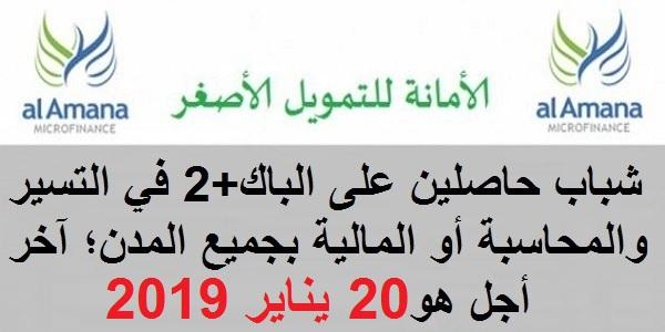 الأمانة للتمويل الأصغر: حملة لتوظيف شباب حاصلين على الباك+2 في التسير والمحاسبة أو المالية بجميع المدن؛ آخر أجل هو 20 يناير 2019