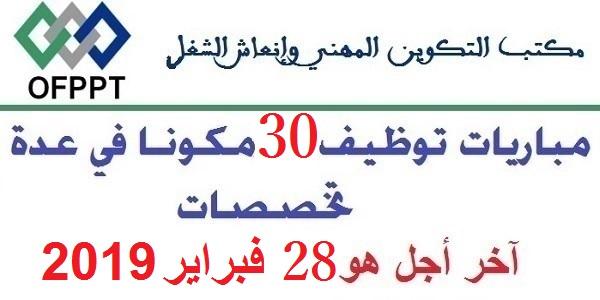 مباراة توظيف 30 منصبا بمكتب التكوين المهني وإنعاش الشغل