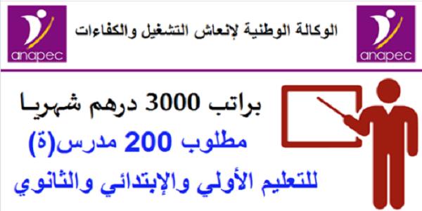 هام للطلبة .. مطلوب 200 أستاذ(ة) للتعليم الخصوصي والتعليم الأولي حاصلين على الباك أو الدبلوم أو الإجازة