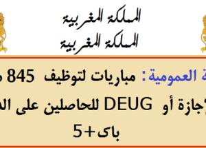 الوظيفة العمومية: مباريات لتوظيف 845 منصب للحاصلين على الدبلوم، DEUG أو الإجازة أو باك+5