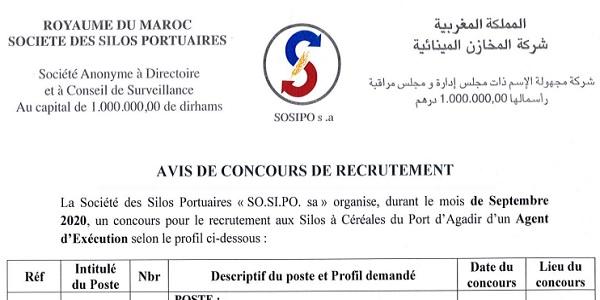 كونكور في شركة المخازن المينائية SOSIPO باغين اوظفو عون تنفيذ اللي باغي يدفع قبل 31 غشت 2020