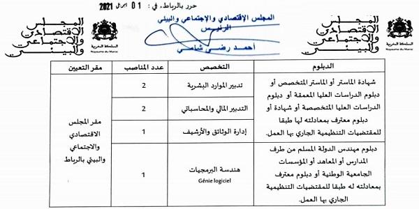المجلس الإقتصادي والإجتماعي والبيئي يعلن عن مباريات توظيف في عدة مناصب وتخصصات آخر أجل 19 ابريل 2021