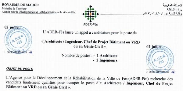 كونكورات جداد في وكالة التنمية ورد الاعتبار لمدينة فاس آخر أجل 2 يوليوز 2021