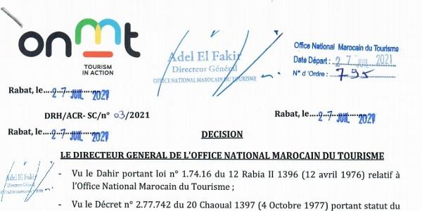 كونكورات جداد في المكتب الوطني المغربي للسياحة آخر أجل 17 غشت 2021
