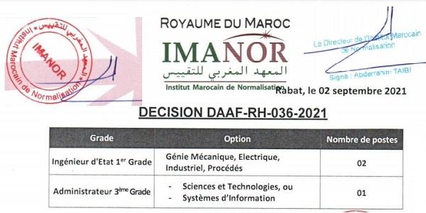 كونكورات جداد في المعهد المغربي للتقييس آخر أجل 20 شتنبر 2021