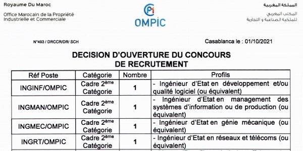 كونكورات جداد في المكتب المغربي للملكية الصناعية والتجارية آخر أجل 18 اكتوبر 2021